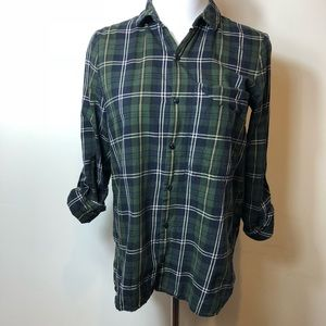 Zara green plaid button front shirt xs